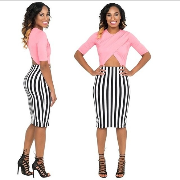 pin strip skirt with pink shirt